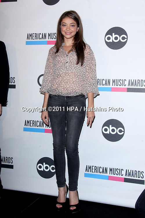 LOS ANGELES - OCT 11:  Sarah Hyland arriving at the 2011 American Music Awards Nominations Press Conference  at the JW Marriott Los Angeles at L.A. LIVE on October 11, 2011 in Los Angeles, CA