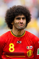 Marouane Fellaini of Belgium pulls a funny face