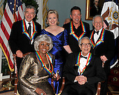 Washington, DC - December 5, 2009 -- 2009 Kennedy Center honorees pose for the formal group photo following the Artist's Dinner at the United States Department of State in Washington, D.C. on Saturday, December 5, 2009.  Front row from left to right: Grace Bumbry and Dave Brubeck.  Back row from left to right: Robert De Niro,  United States Secretary of State Hillary Rodham Clinton, Bruce Springsteen, Mel Brooks..Credit: Ron Sachs - Pool via CNP