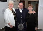 St Johnstone FC Scottish Cup Celebration Dinner at Perth Concert Hall...01.02.15<br /> Chairman Steve Brown with Provost Liz Grant and Bernadette Malone P&amp;K Council Chief Exec<br /> Picture by Graeme Hart.<br /> Copyright Perthshire Picture Agency<br /> Tel: 01738 623350  Mobile: 07990 594431