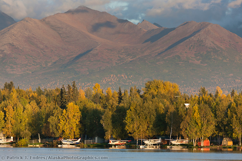 Bush planes along Lake Hood, Anchorage, Alaska.