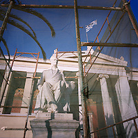 A statue of Ioannis Kapodistrias in front of Athens University in Panepistimio Square.