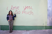 """""""I love you so much"""" is an iconic mural painted on the south side at Jo's Coffee on South Congress Avenue - Stock Image."""
