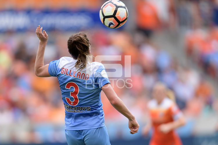 Houston, TX - Saturday April 15, 2017: Arin Gilliland goes up for a header during a regular season National Women's Soccer League (NWSL) match between the Houston Dash and the Chicago Red Stars at BBVA Compass Stadium.