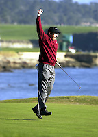Matt Gogel Jumps in the air on the 18th green after putting for birdie and winning the AT&T Pebble Beach National Pro-Am in Pebble Beach, Calif., Sunday, Feb. 3, 2002. Gogel started the day trailing tournament leader Pat Perez by four strokes. (ALAN GRETH/ CONTRA COSTA TIMES)