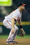 Baltimore Orioles third baseman Ty Wiggington defends against the Seattle Mariners' at SAFECO Field in Seattle April 19, 2010. The  Mariners beat the Orioles 8-2. Jim Bryant Photo. &copy;2010. ALL RIGHTS RESERVED.