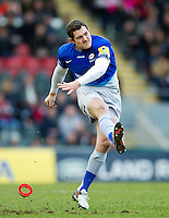 Alex Goode of Saracens kicks for the posts. Aviva Premiership match, between Leicester Tigers and Saracens on March 20, 2016 at Welford Road in Leicester, England. Photo by: Patrick Khachfe / JMP