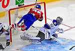 31 January 2009: Los Angeles Kings' goaltender Jonathan Quick makes a save as Montreal Canadiens right wing forward Matt D'Agostini is checked into the crossbar at the Bell Centre in Montreal, Quebec, Canada. The Canadiens defeated the Kings 4-3. ***** Editorial Sales Only ***** Mandatory Photo Credit: Ed Wolfstein Photo