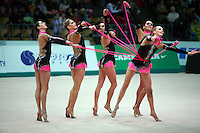 """Rhythmic group from Italy performs 5 ropes routine at 2008 World Cup Kiev, """"Deriugina Cup"""" in Kiev, Ukraine on March 22, 2008."""
