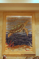 Captain George's custom mosaic turtle panel made in Oceanside glass located in Virginia Beach, VA
