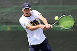 21 April 2016: Notre Dame's Quentin Monaghan. The University of Notre Dame Fighting Irish played the Duke University Blue Devils at the Cary Tennis Center in Cary, North Carolina in the first round of the Atlantic Coast Conference Men's Tennis Tournament. Notre Dame won the match 4-1.