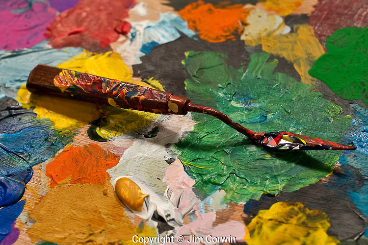 Artist palette with paint knife for mixing paints