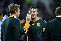 Francois Louw of South Africa has his bloodied face cleaned up after the match. Rugby World Cup Bronze Final between South Africa and Argentina on October 30, 2015 at The Stadium, Queen Elizabeth Olympic Park in London, England. Photo by: Patrick Khachfe / Onside Images