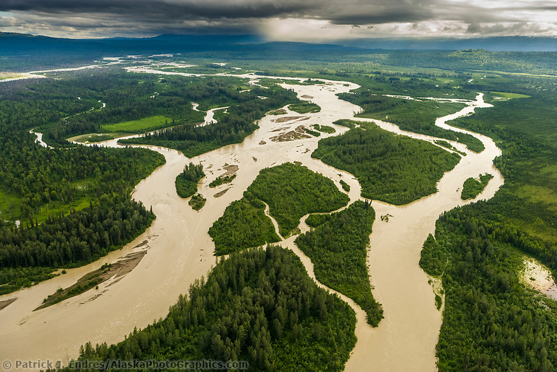 Aerial of the Skwentna river, view to the north, southcentral Alaska.
