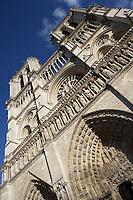 Portal of the last judgment, 1220-1250, central cathedral door, with the bell towers in prospect, Notre Dame de Paris, 1163 - 1345, initiated by the bishop Maurice de Sully, Ile de la Cité, Paris, France. Picture by Manuel Cohen