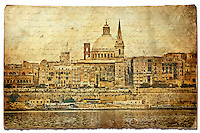 Valletta, Malta - Forgotten Postcard digital art European Travel collage