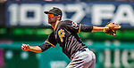 25 July 2013: Pittsburgh Pirates infielder Jordy Mercer in action against the Washington Nationals at Nationals Park in Washington, DC. The Nationals salvaged the last game of their series, winning 9-7 ending their 6-game losing streak. Mandatory Credit: Ed Wolfstein Photo *** RAW (NEF) Image File Available ***