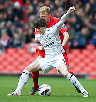 LIVERPOOL, ENGLAND - Easter Monday, April 1, 2013: Liverpool's Craig Roddan in action against Tottenham Hotspur's Cristian Ceballos during the Under 21 FA Premier League match at Anfield. (Pic by David Rawcliffe/Propaganda)