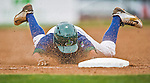 9 July 2015: Vermont Lake Monsters infielder Mikey White slides safely into third during a game against the Mahoning Valley Scrappers at Centennial Field in Burlington, Vermont. The Lake Monsters rallied to tie the game 4-4 in the bottom of the 9th, but fell to the Scrappers 8-4 in 12 innings of NY Penn League play. Mandatory Credit: Ed Wolfstein Photo *** RAW Image File Available ****