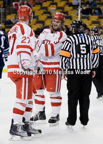 Vinny Saponari (BU - 27), Kevin Shattenkirk (BU - 3) - The University of Maine Black Bears defeated the Boston University Terriers 5-2 (EN) on Friday, March 19, 2010, in their Hockey East championship semi-final at the TD Garden in Boston, Massachusetts.