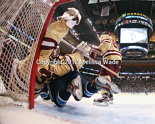 Parker Milner (BC - 35), Klas Leidermark (Maine - 91) - The Boston College Eagles defeated the University of Maine Black Bears 4-1 to win the 2012 Hockey East championship on Saturday, March 17, 2012, at TD Garden in Boston, Massachusetts.