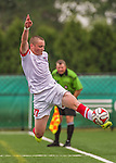 5 September 2014: St. Francis College Terrier Forward David Shafer, a Freshman from Orlando, FL, in action against the University of Massachusetts River Hawks, at Virtue Field in Burlington, Vermont. The River Hawks defeated the Terriers 3-1, on the first day of the Morgan Stanley Smith Barney Windjammer Classic Men's Soccer Tournament. Mandatory Credit: Ed Wolfstein Photo *** RAW (NEF) Image File Available ***