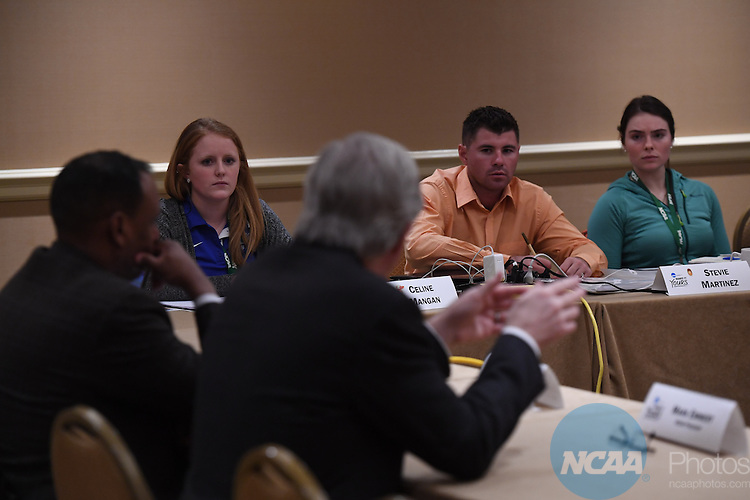 17 JAN 2017:  The NCAA Division II SAAC meeting takes place during the 2017 NCAA Convention takes place at the Gaylord Opryland Resort & Convention Center in Nashville, TN. Justin Tafoya/NCAA Photos (Pictured: Celine Mangan and Stevie Martinez)