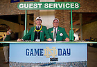 Sept. 22, 2012; Mike Adams and Tom Fron (right) work the Guest Services Desk prior to the game against Michigan at Notre Dame Stadium.  Photo by Barbara Johnston/University of Notre Dame