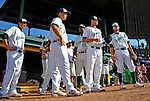 2 July 2011: Starters for the Vermont Lake Monsters stand outside the dugout, ready for the start of play against the Tri-City ValleyCats at Centennial Field in Burlington, Vermont. The Lake Monsters rallied from a 4-2 deficit to defeat the ValletCats 7-4 in NY Penn League action. Mandatory Credit: Ed Wolfstein Photo