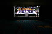 Ft. Lauderdale, Florida.USA.November 2, 2004..Florida Democrats gather to watch the election returns in a convention center. A Kerry cut out stands at a podium in an empty room after he losses Florida.