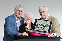 "22/9/2010. Silver Surfer Awards. Fair City actors Jim Bartley (Bela Doyle), Tom Jordan (Charlie Kelly) and 96-year-old Marguerite Faulkner from Tyrone last years award winner are pictured at the Science Gallery Dublin to encouraging all seniors to ""ride the wave"" of new technologies as they help 3 and Age Action Ireland launch the search for Ireland's biggest ""Silver Surfers"".Picture James Horan/Collins Photos"