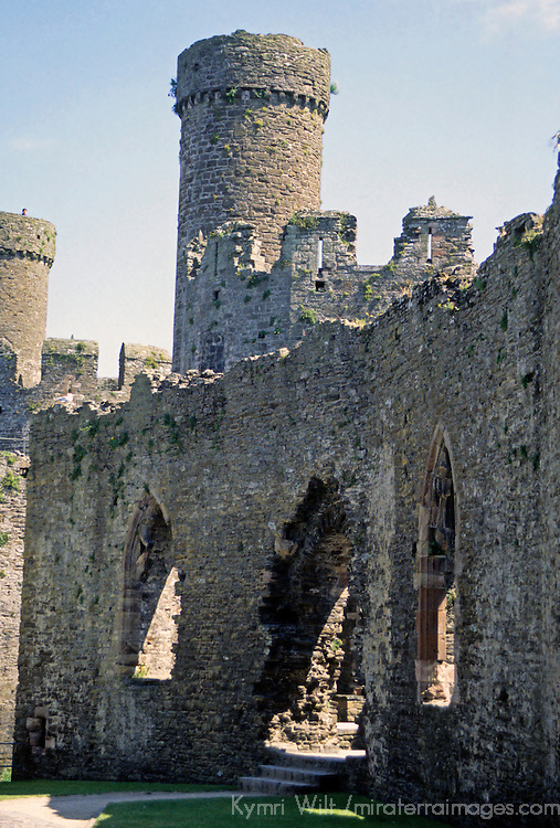 "Europe, United Kingdom, Wales, Conwy. Conwy Castle, a UNESCO World Heritage Site, one of the ""Castles and Town Walls of King Edward I in Gwynedd""."