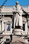 Statue of Leonardo DiVinci in Milan, Italy.