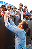 22 MAY 2010:  USA's Hope Solo #1 signs autographs after the International Friendly soccer match between Germany WNT vs USA WNT at Cleveland Browns Stadium in Cleveland, Ohio on May 22, 2010.