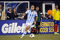 Argentina defender Pablo Zabaleta (4). Argentina and Ecuador played to a 0-0 tie during an international friendly at MetLife Stadium in East Rutherford, NJ, on November 15, 2013.