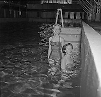 Bathers in Evan's Plunge 6/6/56 Verichrome Joyce Cassidy and Elisa Vorce