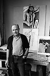 Keith Vaughan (23 August 1912 - 4 November 1977) artist in his south London studio 1968.<br />