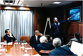 United States President Ronald Reagan listens as General Charles Gabriel, Chief of Staff to the Air Force, gives a briefing on damage assessment of the Libyan incident at a meeting with key advisors in the Situation Room on Tuesday, April 15, 1986.  From left, are: The President; Secretary of State George Schultz; Director of the Central Intelligence Agency (CIA) William Casey; General Gabriel; White House Chief of Staff Donald Regan; and Rodney McDaniel, Special Assistant to the President for National Security Affairs..Mandatory Credit: Pete Souza - White House via CNP