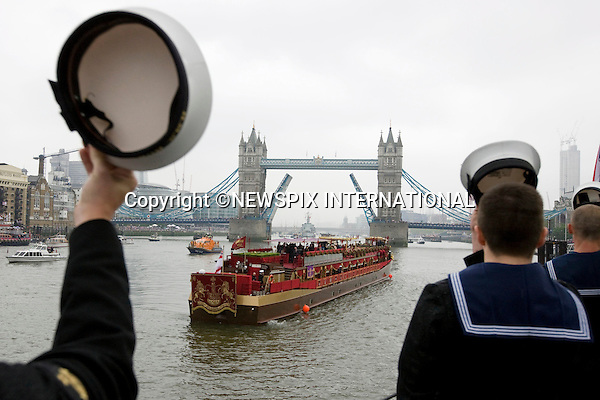 """QUEEN'S JUBILEE PAGEANT.The Royal Navy was out in force on Sunday 3rd June  with the Senior Service pulling out all the stops to celebrate the Queenís Diamond Jubilee at the River Pageant. .London. 03/06/2012.Mandatory Credit Photo: ©T Seward/NEWSPIX INTERNATIONAL..**ALL FEES PAYABLE TO: """"NEWSPIX INTERNATIONAL""""**..IMMEDIATE CONFIRMATION OF USAGE REQUIRED:.Newspix International, 31 Chinnery Hill, Bishop's Stortford, ENGLAND CM23 3PS.Tel:+441279 324672  ; Fax: +441279656877.Mobile:  07775681153.e-mail: info@newspixinternational.co.uk"""