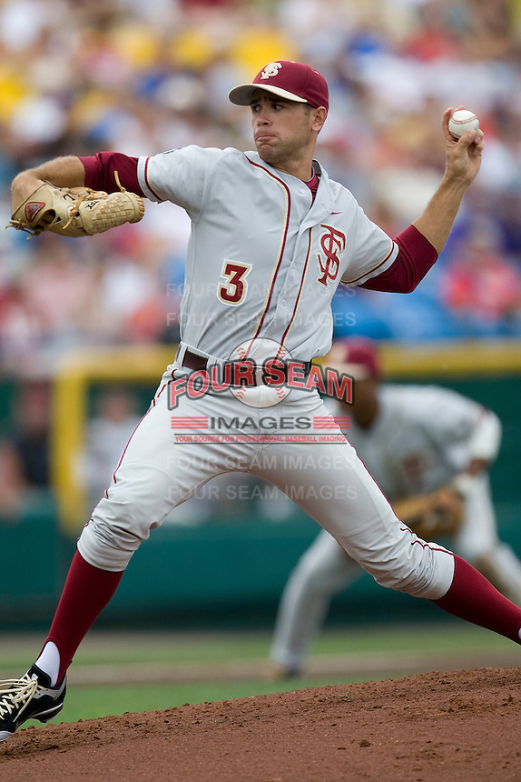 Florida State's  starting pitcher Sean Gilmartin against TCU in Game 1 of the NCAA Division One Men's College World Series on Saturday June 19th, 2010 at Johnny Rosenblatt Stadium in Omaha, Nebraska.  (Photo by Andrew Woolley / Four Seam Images)