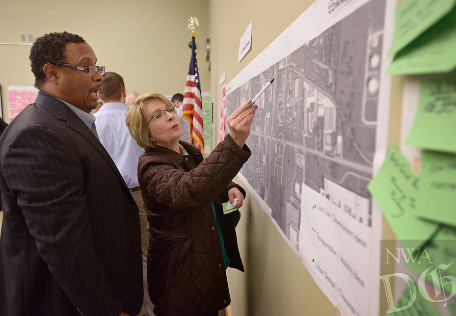 NWA Democrat-Gazette/BEN GOFF @NWABENGOFF<br /> Gerald Taylor and Paula Wagner discus ideas for the 14th St. corridor on Thursday, Feb. 18, 2016 during a visioning workshop hosted by Houseal Lavigne Associates at the Bentonville Public Library for the community to learn about and comment on Bentonville Community Plan. Taylor and Wagner are co-workers who commute from the same neighborhood in Bentonville using both the S.W. 8th St. and S.W. 14th St. corridors.