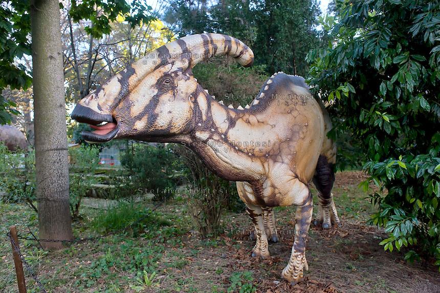 Roma 30 Dicembre 2014<br /> &quot;Dinosauri in Carne e Ossa&quot;, mostra di dinosauri e altri animali preistorici estinti, a grandezza naturale, allestita dall' Associazione paleontologica ambientale, all'Universit&agrave; La Sapienza di Roma. La mostra sara aperta fino al 31 Maggio 2015. La scultura di un Parasaurolophus walkeri.<br /> Rome December 30, 2014<br /> &quot;Dinosaurs in Flesh and Bones&quot;, an exhibition of dinosaurs and other prehistoric animals extinct, to life-sized, prepared by Association paleontological environmental, a La Sapienza University of Rome. The exhibition will be open until May 31, 2015. The sculpture of Parasaurolophus walkeri.