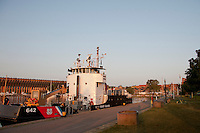 The US Coast Guard buoy tender Buckthorn docked in downtown Marquette Michigan on Lake Superior.