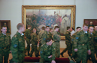"Saint Petersburg, Russia, June 2002..The Russian Museum, with its extensive collection of Russian art, is one of the city's many world-class museums. Soldiers and Repin's ""Zaporozhie Cossacks Write A Letter To The Turkish Sultan"".."