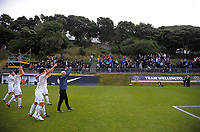 The Auckland City FC team celebrates after the final whistle of the Oceania Football Championship final (second leg) football match between Team Wellington and Auckland City FC at David Farrington Park in Wellington, New Zealand on Sunday, 7 May 2017. Photo: Dave Lintott / lintottphoto.co.nz