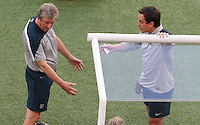 England Manager Roy Hodgson And coach Gary Neville