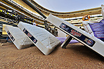 29 September 2012: Minnesota Twins bases lie ready to be placed into position prior to a game against the Detroit Tigers at Target Field in Minneapolis, MN. The Tigers defeated the Twins 6-4 in the second game of their 3-game series. Mandatory Credit: Ed Wolfstein Photo