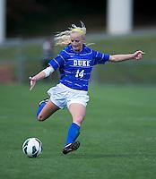 Erin Koballa (14) of Duke lofts the ball forward during the game at Klockner Stadium in Charlottesville, VA.  Virginia defeated Duke, 1-0.