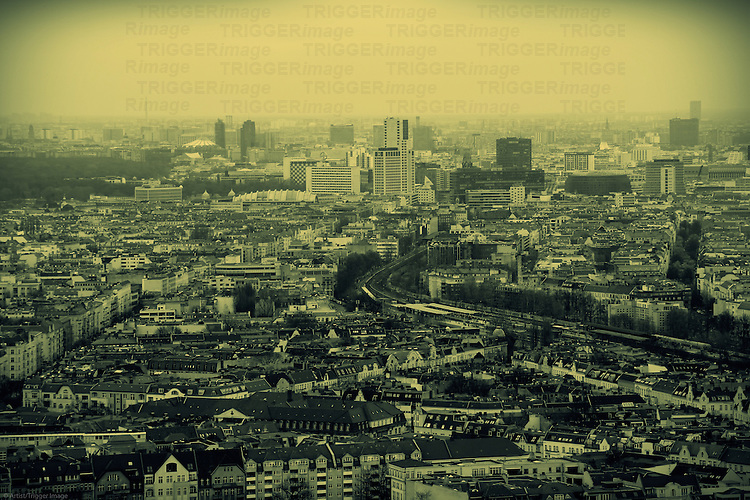 An aerial view of Berlin with streets, skyscrapers and infrastructure.