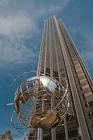 Globe Sculpture And Trump Hotel in New York City